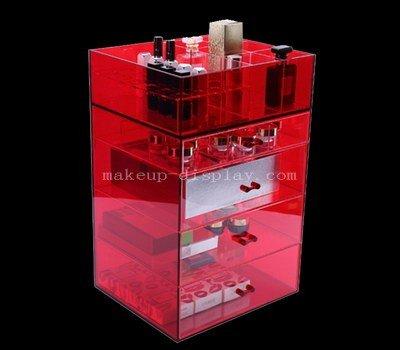 Red acrylic makeup drawer organizer