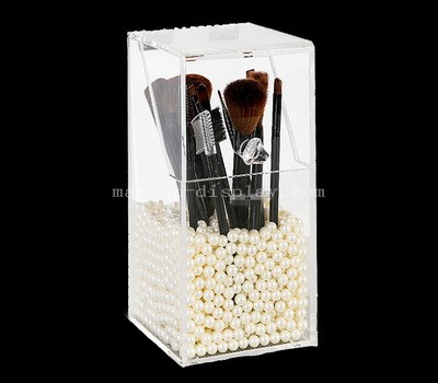 Dustproof acrylic brush storage box with pearl beads