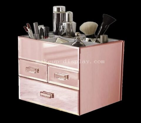 MKMO-019 3 Drawer Tiered Mirrored Acrylic Makeup Jewelry Organizer - Rose Gold